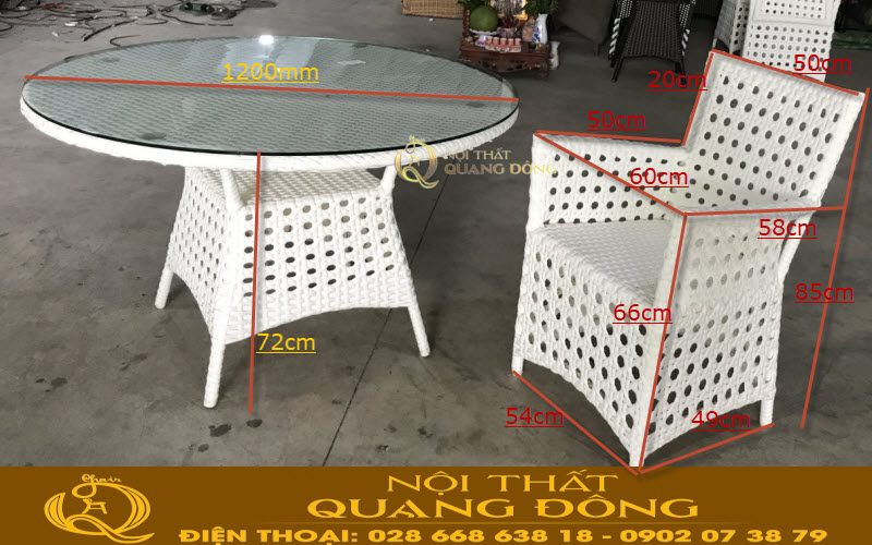 kích thước chuẩn sản xuất ghế giả mây