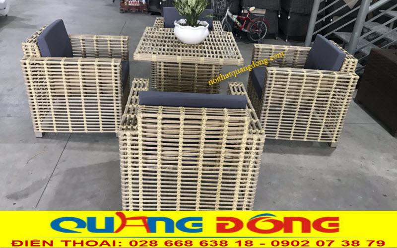 Bộ bàn ghế giả mây QD-366 ghi hình tại xưởng Nội Thất Quang Đông