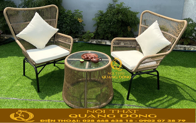 Mẫu bàn ghế giả mây đan sợi tròn kiểu dáng mới độ bền hoàn hảo hơn