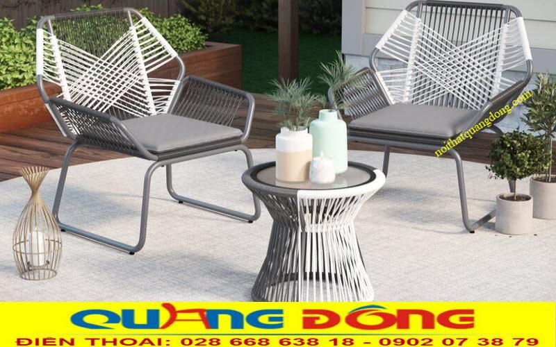 Mẫu bàn ghế sân vườn ngoài trời cao cấp bằng nhựa giả mây sợi tròn