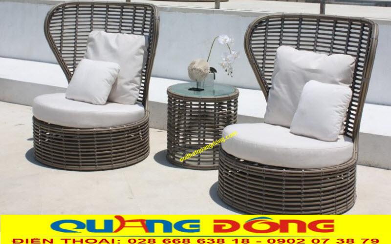 Bộ bàn ghế nhựa giả mây cao cấp kháng UV tia cực tím  dùng ngoài trời