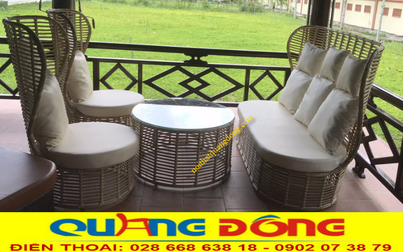 Bộ bàn ghế giả mây QD-394 gồm 2 ghế đơn và 1 băng dài, tiện nghi dùng cho cả nội và ngoài thất sân vườn