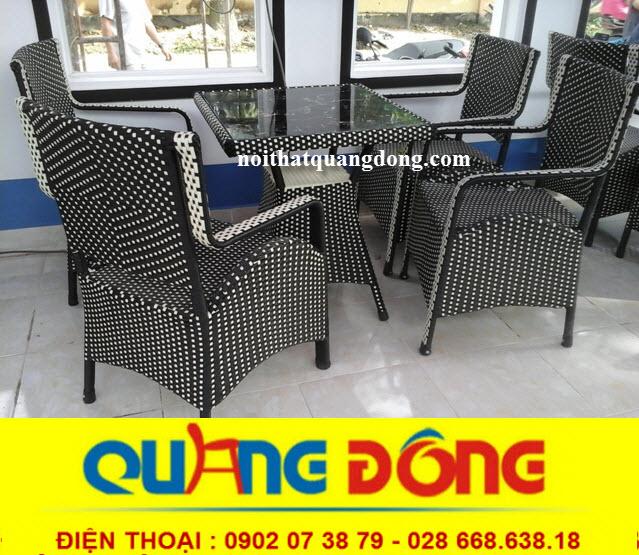 bộ bàn ghế giả mây QD-065 mẫu ghế cho quán cafe khu resort, ghế nhựa giả mây ngoài trời sân vườn