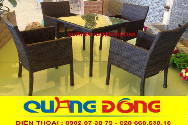 Mẫu ghế giả mây cho quán cafe sử dụng đa chức năng cho cả nội thất cũng như sân vườn ngoài trời