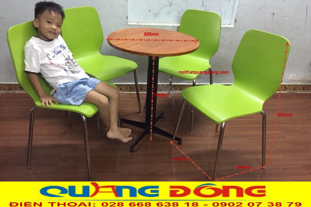 Quy cách bộ bàn ghế gỗ chân inox QD-012 cung cấp bởi nội thất quang đông