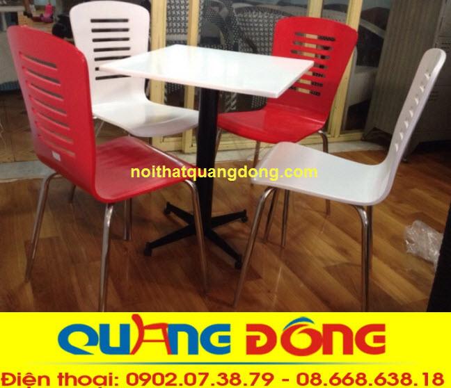Bàn ghế gỗ chân Inox QD-017 sản phẩm dùng cho quán cafe, nhà hàng thức an nhanh