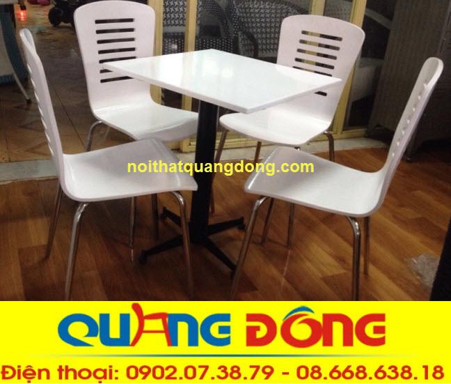 Mẫu ghế gỗ chân inox sơn màu trắng tinh khôi, ghế gỗ uốn cong màu trắng