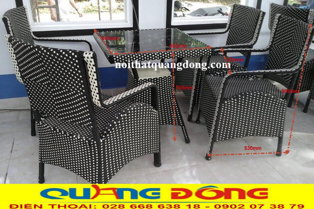 Thông tin chi tiết, quy cách sản phẩm bộ bàn ghế giả mây QD-065