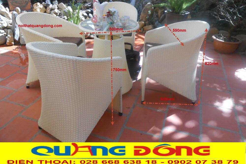 Bàn ghế giả mây QD-098 quy cách chuẩn của nhà sản xuất bàn ghế nội thất quang đông