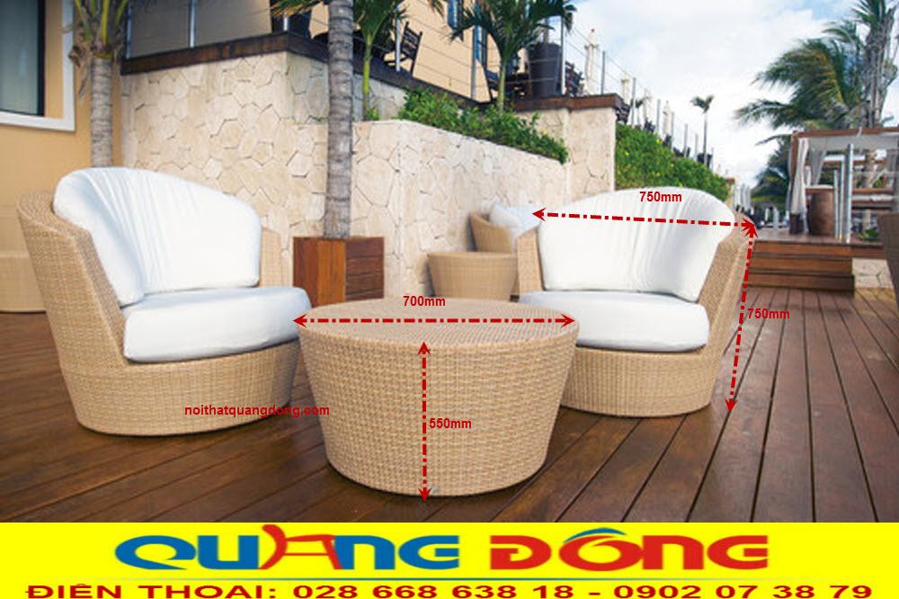 Mẫu ghế mây nhựa chuyên dùng cho ngoại thất sân vườn, Bộ bàn ghế giả mây QD-2019 mang nét đẹp mộc mạc tự nhiên, Xu thế thiết kế hiện đại ngày nay.