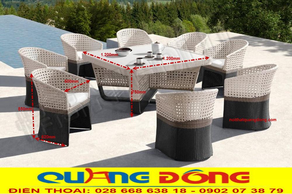 Mẫu ghế mây nhựa cao cấp dùng cho sân vườn ngoài trời, bộ bàn ghế giả mây QD-2021