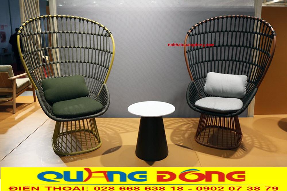 Mẫu ghế giả mây đan sợi dây dù vừa bền đẹp lại mang tính thẩm mỹ cao, hoàn toàn mới lạ