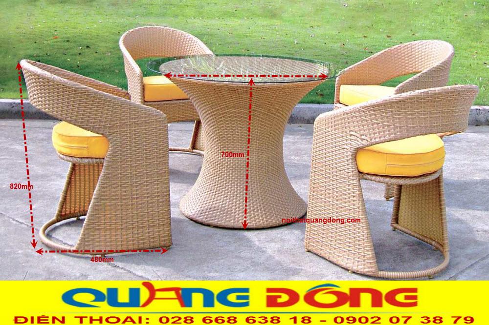 Quy cách bộ bàn ghế giả mây QD-2033 chuẩn của nhà sản xuất Nội Thất Quang Đông