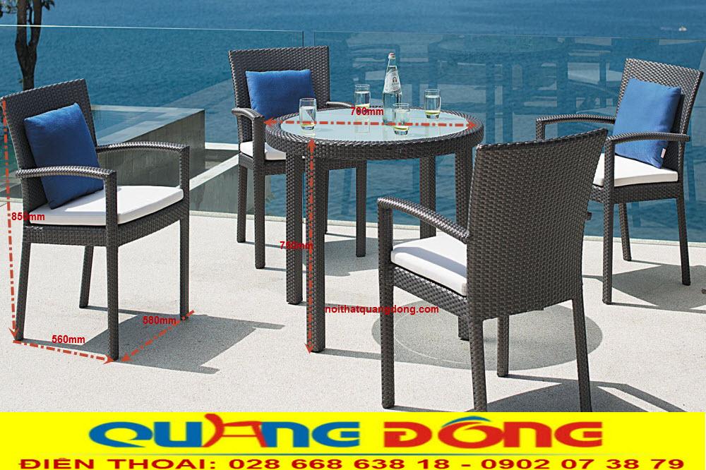 Bộ bàn ghế giả mây QD-2040, Tham khảo quy cách chuẩn ghế nhựa giả mây cung cấp bởi Nội Thất Quang Đông