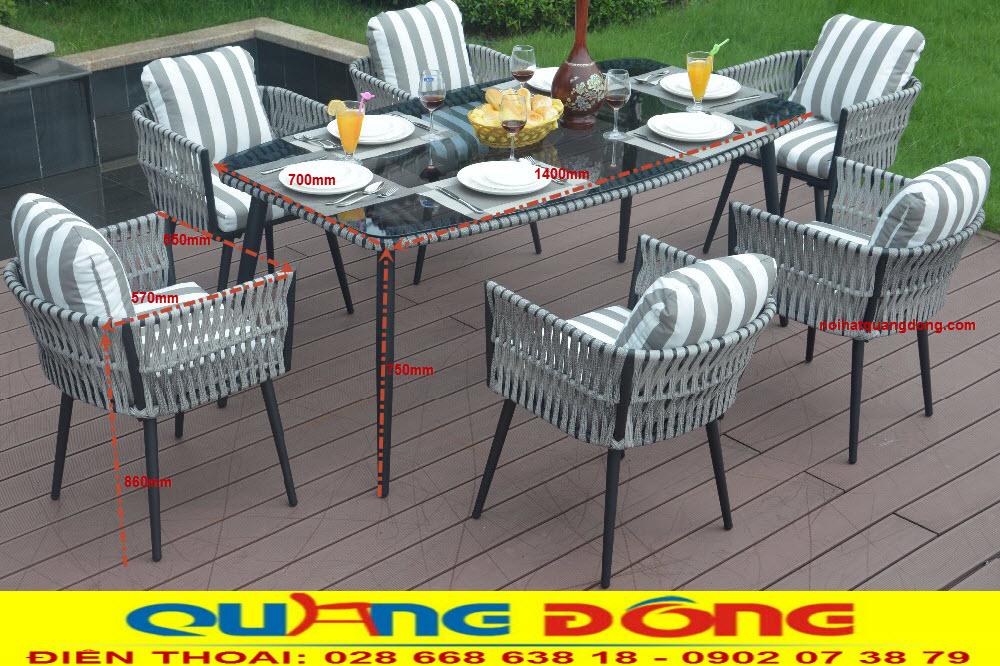 Bàn ghế dùng cho sân vườn ngoài trời đẹp, bộ bàn ghế giả mây QD-048 kiểu dáng thiết kế mới, chất liệu bền đẹp chịu mưa nắng
