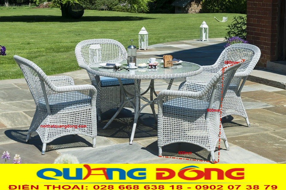 Mẫu bàn ghế ngoài trời sân vườn giả mây tuyệt đẹp cho khách sạn , khu resort, quán cafe cao cấp