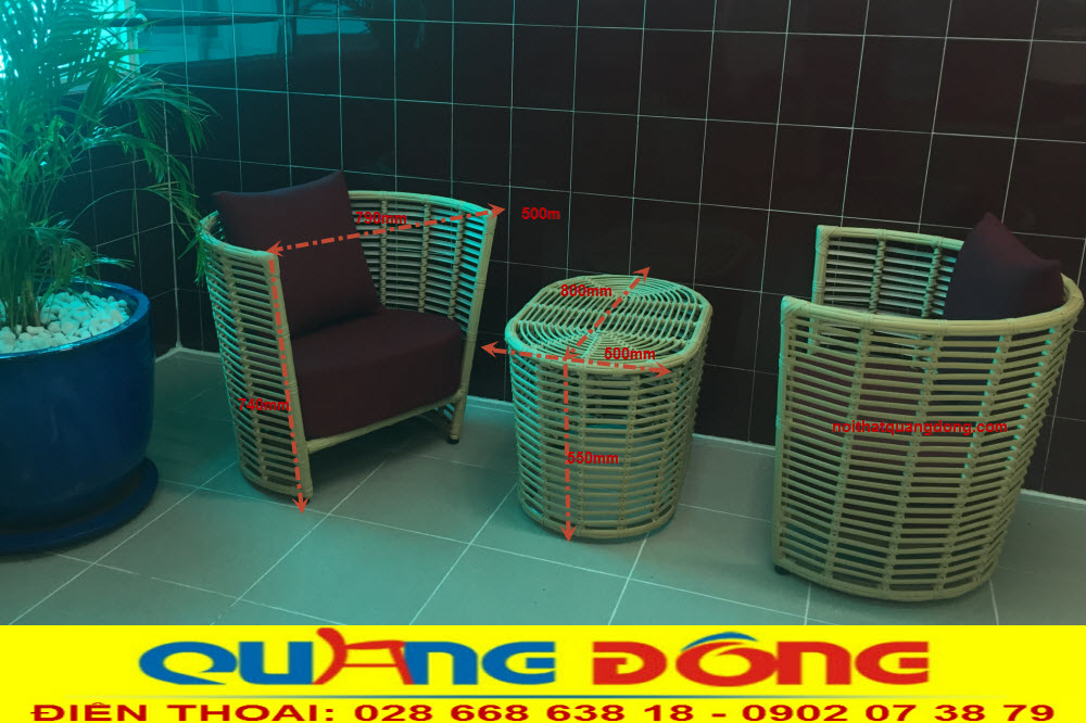 Quy cách bộ bàn ghế giả mây QD-2054 cung cấp bởi Nội Thất Quang Đông