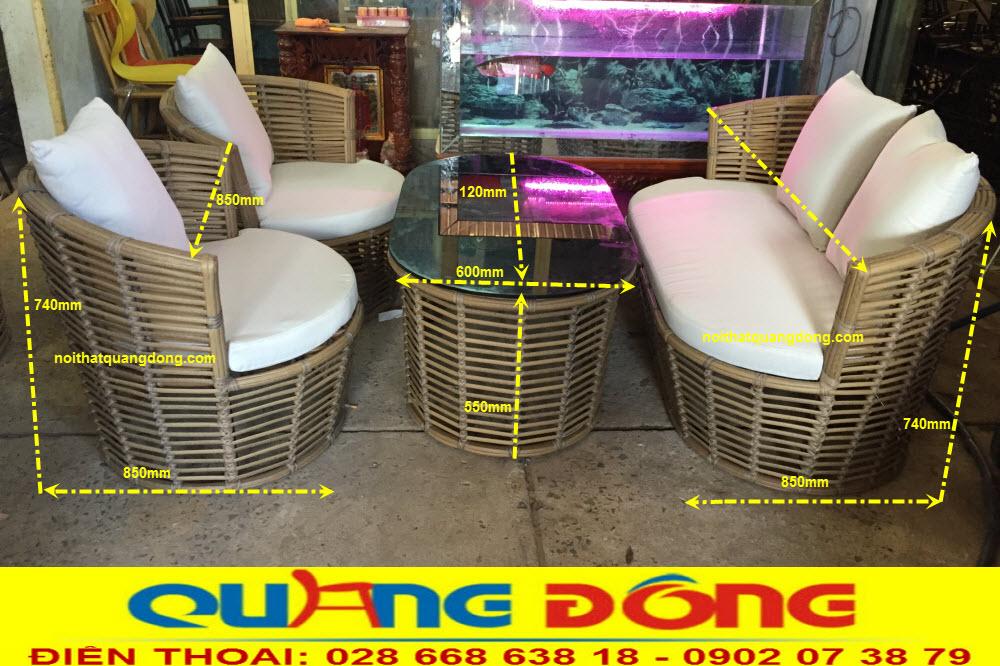 Nội Thất Quang Đông bật mí kích thước chuẩn bộ bàn ghế giả mây QD-2056