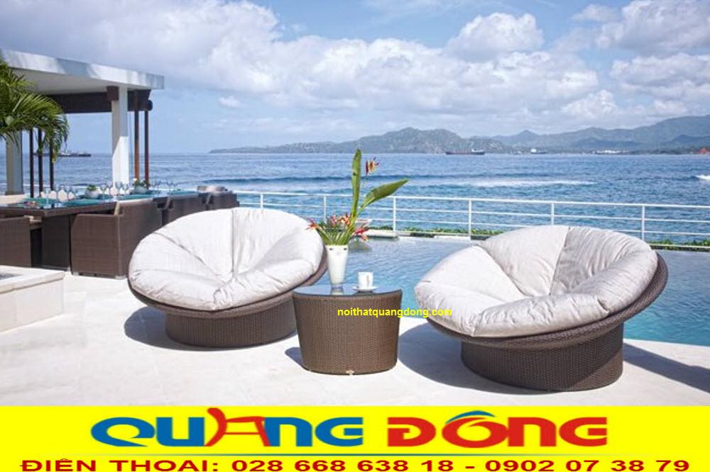 Ghế nhựa giả mây QD-2057 thiết kế kiểu dáng hoàn toàn mới lạ đẹp cho không gian sân vườn, khu vực ngoài trời