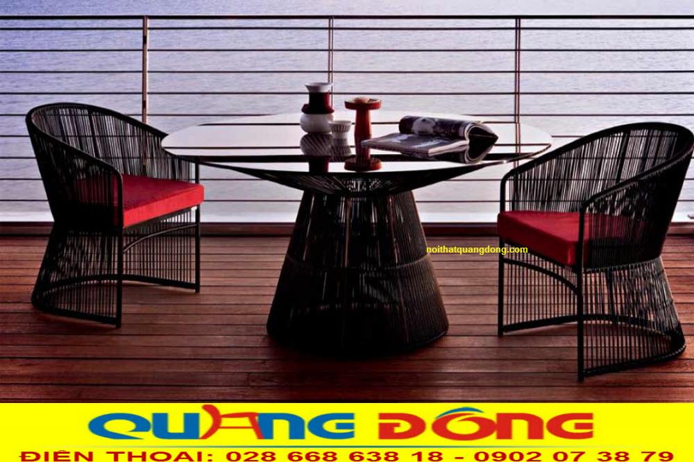 Bộ bàn ghế giả mây QD-2063 đan sợi nhựa tròn màu đen