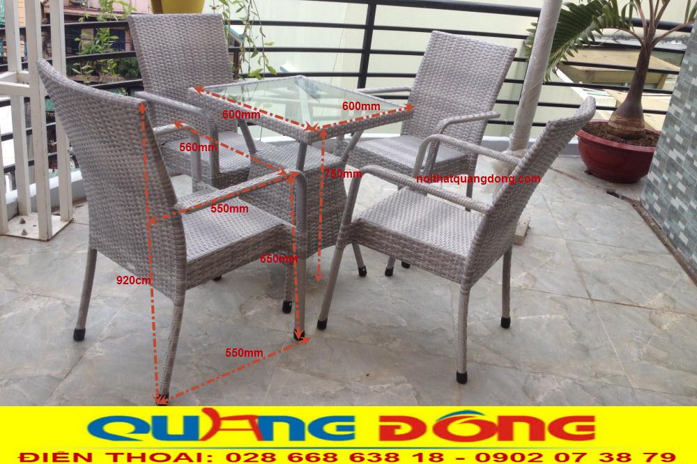 Thông tin chi tiết quy cách sản phẩm bàn ghế giả mây QD-207 Nhà sản xuất Nội Thất Quang Đông