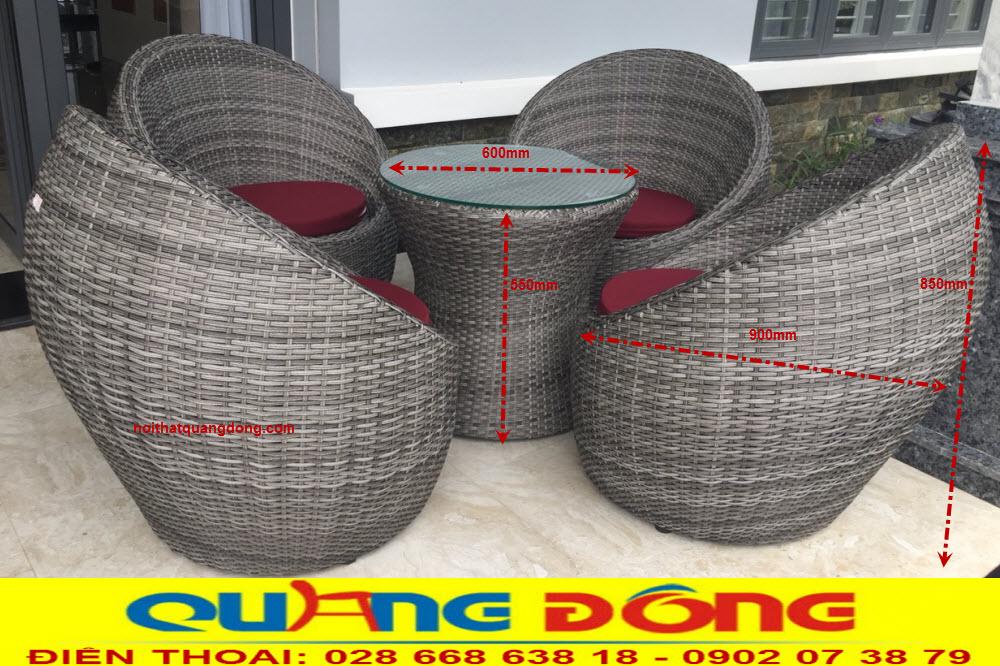 Quy cách chuẩn bộ bàn ghế giả mây cao cấp QD-211 màu xám hình trái trứng