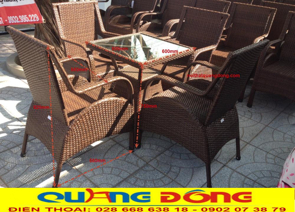Mẫu ghế cho quán cafe, Bộ bàn ghế giả mây QD-272 gam màu nâu giả gỗ được nhiều quán cafe sử dụng