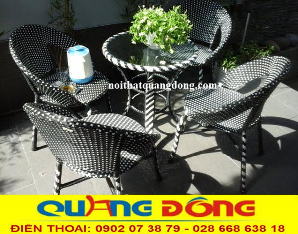 Mẫu bàn ghế cho quán cafe bộ bàn ghế giả mây QD-285 cho quán cafe sân vườn, Công ty sản xuất ghế giả mây tại hcm giá bán tại xưởng