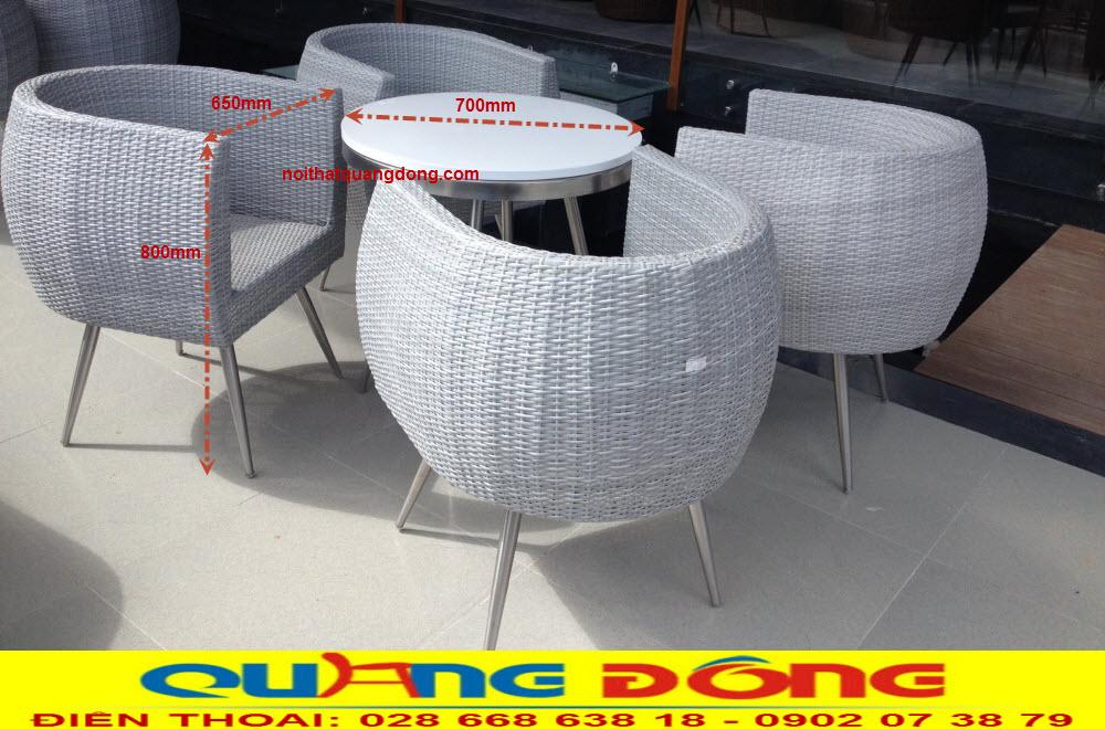 Mẫu bàn ghế giả mây cao cấp QD-302 thiết kế độc lạ sang chảnh, sản phẩm chuyên dụng cho quán cafe, khu resort