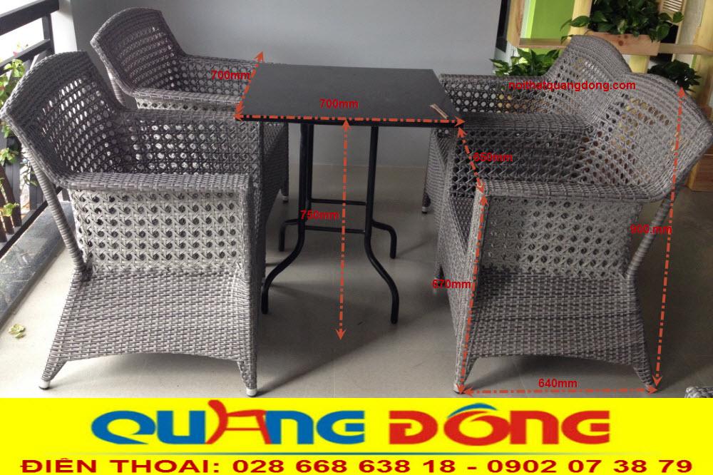 Tham khảo để biết quy cách sản phẩm bàn ghế giả mây QD-303 Nhà sản xuất Nội Thất Quang Đông