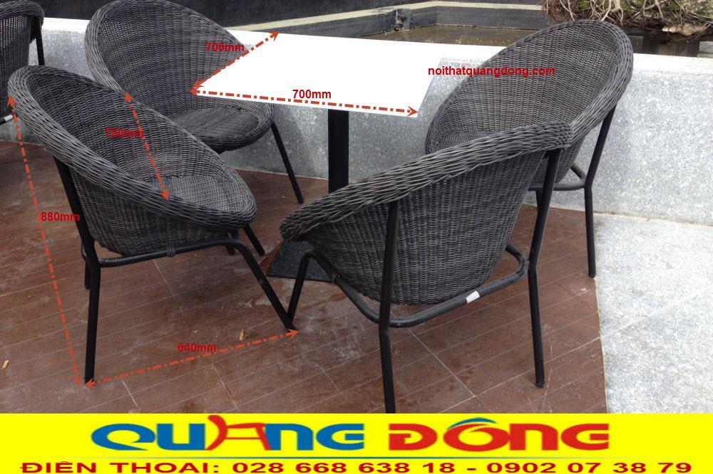 Thông tin chi tiết kích thước bộ bàn ghế giả mây QD-304