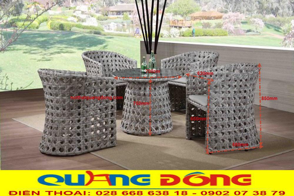 Thông tin quy cách tiêu chuẩn của bộ bàn ghế giả mây QD-354 , cung cấp bởi nhà sản xuất NỘI THẤT QUANG ĐÔNG