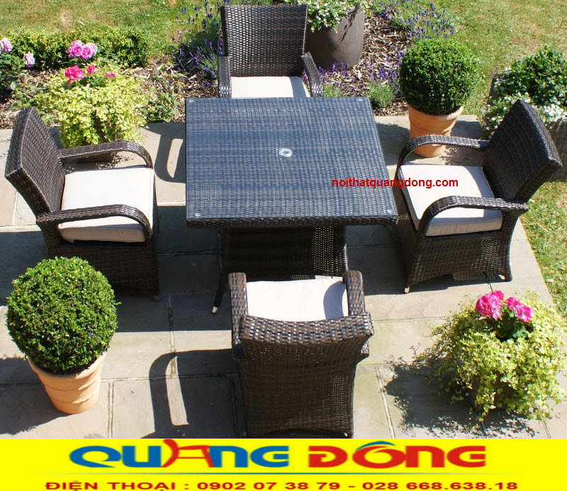 bàn ghế giả mây cao cấp chuyên dùng cho sân vườn ngoài trời