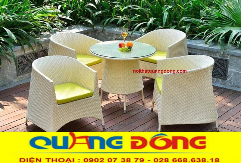 Bàn ghế cho quán cafe sân vườn tuyệt đẹp, bàn ghế giả mây QD-362 thiết kế mới lạ độc đáo