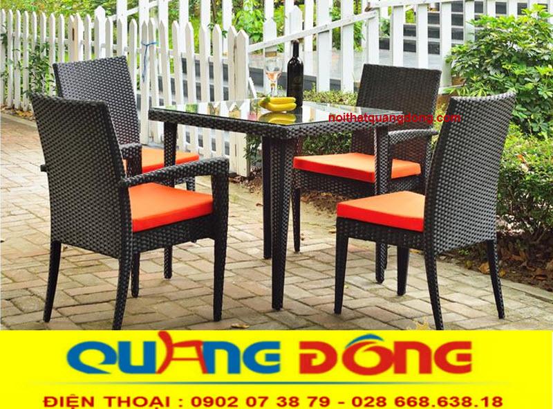 bàn ghế giả mây cho quán cafe, mẫu ghế giả mây sang trọng dùng cho sân vườn