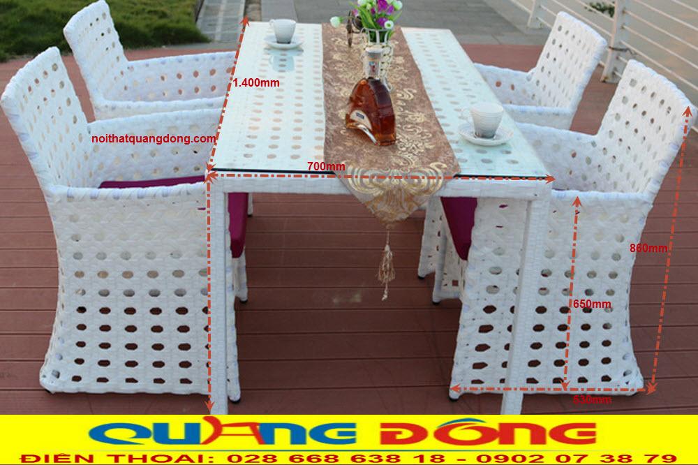 Quy cách tiêu chuẩn bộ bàn ghế giả mây QD-364 của nhà sản xuất Nội Thất Quang Đông