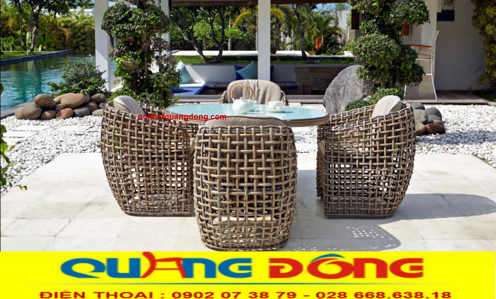 Mẫu bàn ghế sân vườn ngoài trời cao cấp, bộ bàn ghế giả mây QD-365