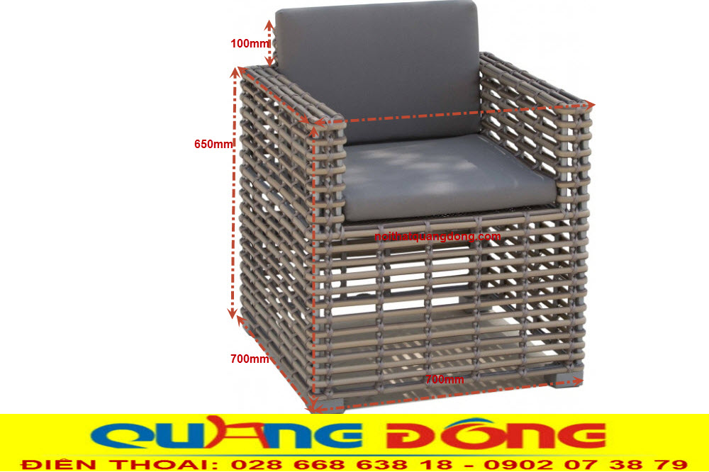 Kích thước tiêu chuẩn của nhà sản xuất cung cấp mẫu ghế giả mây QD-366