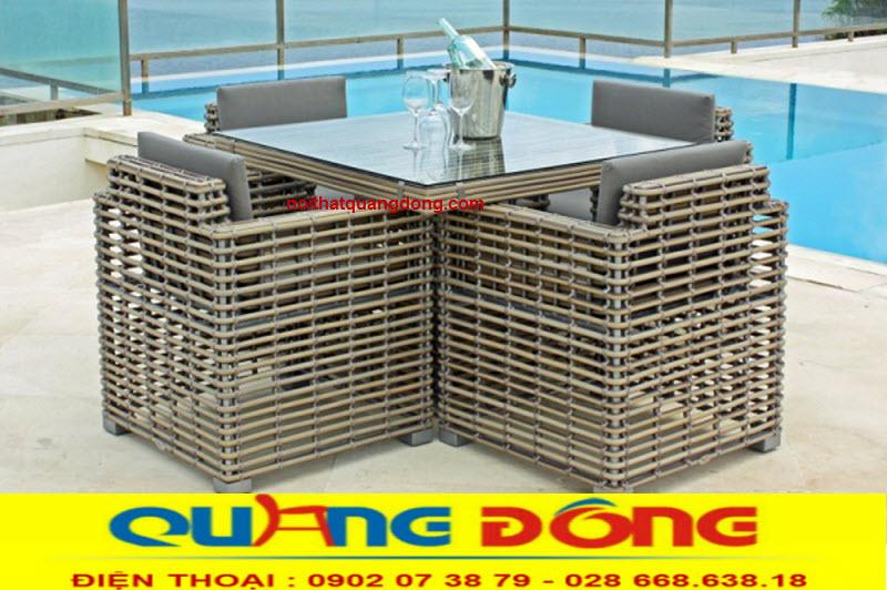 Bàn ghế giả mây tre với khả năng chịu mưa nắng, sản phẩm chuyên dụng cho sân vườn ngoài trời