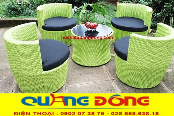Bàn ghế giả mây cao cấp chuyên dụng cho sân vườn ngoài trời, bộ bàn ghế QD-367