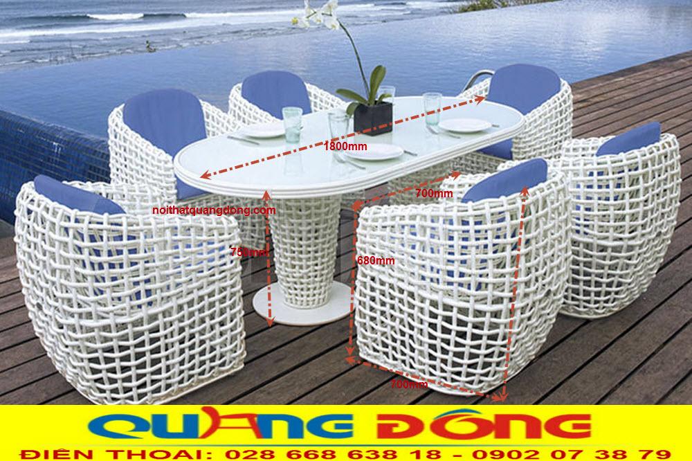 Kích thước chuẩn của bộ bàn ghế giả mây QD-369 cung cấp bởi nhà sản xuất Nội Thất Quang Đông