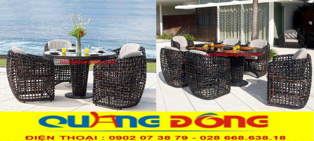 Bộ bàn ghế giả mây QD-369 cho ngoại thất sân vườn ngoài trời,