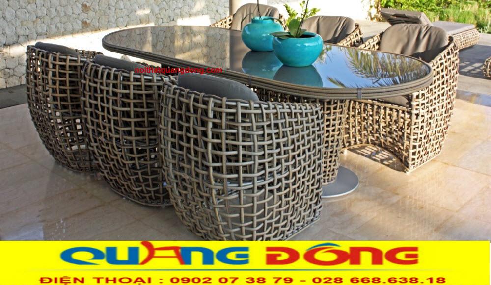 Bàn ghế giả mây cao cấp QD-369 sản phẩm chuyên dùng cho sân vườn khu resort, khách sạn cao cấp