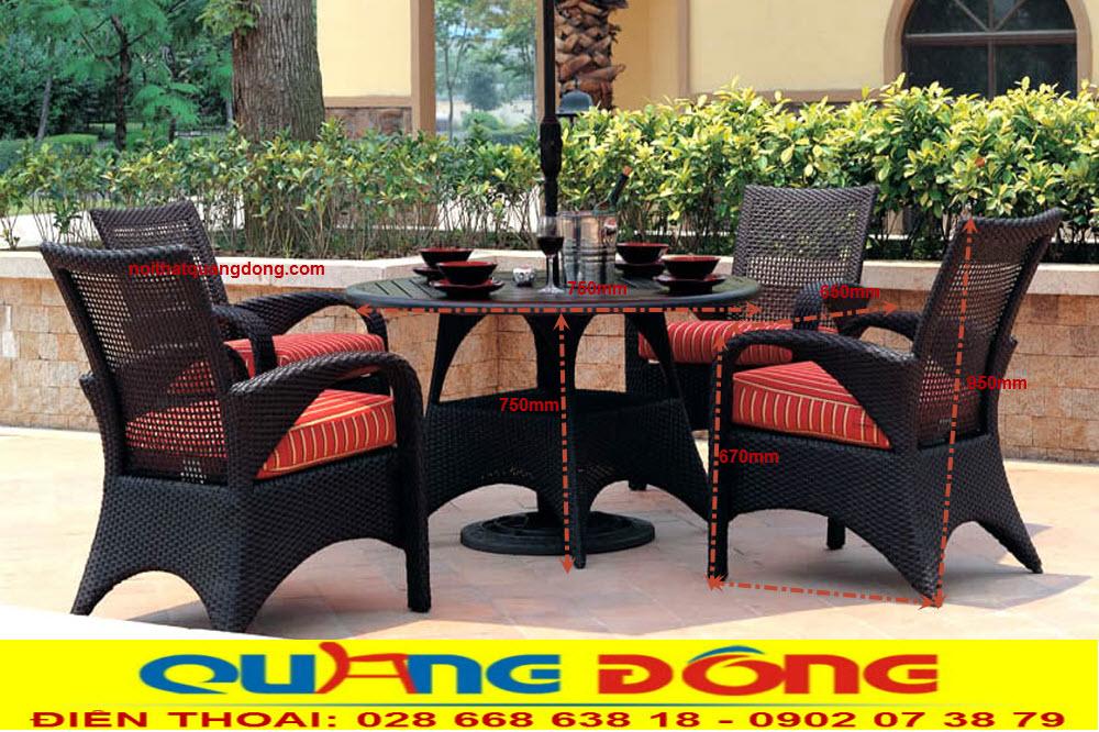Thông tin chi tiết kích thước bộ bàn ghế giả mây QD-371 nhà sản xuất Nội THất Quang Đông