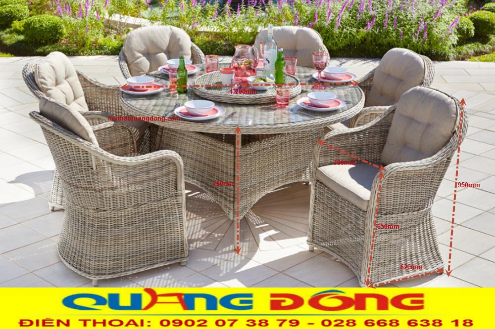 Bộ bàn ghế giả mây QD-381 thiết kế vững chắc đan sợi nhựa tròn bền đẹp, sản phẩm chuyên dụng cho sân vườn ngoài trời quán cafe khu resort