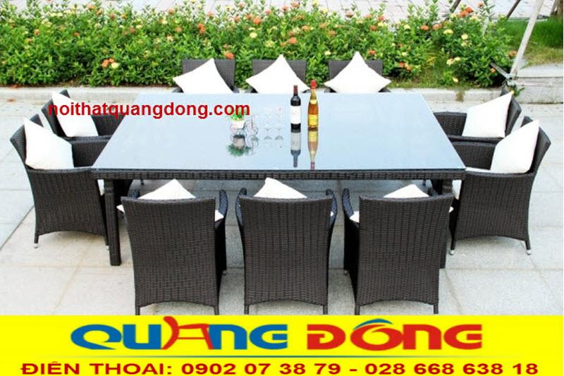 Bộ bàn ghế giả mây QD-393 dùng cho sân vườn ngoài trời gồm 8 ghế 1 bàn.