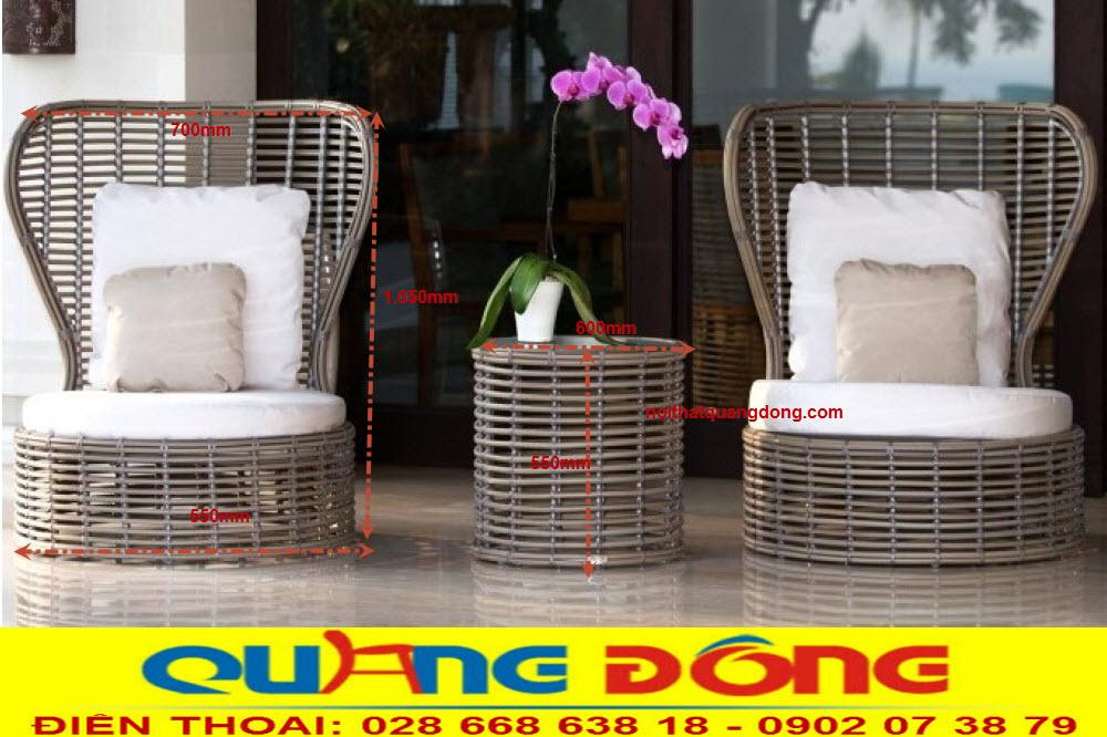 Mẫu ghế giả mây thiết kế mới lạ độc đáo, Bộ bàn ghế giả mây QD-394 là dòng sản phẩm hàng cao cấp chuyên dùng cho khách sạn , khu resort