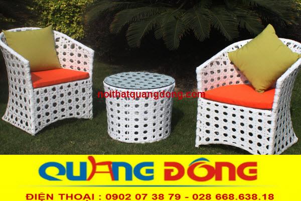 bộ bàn ghế giả mây QD-343 được thiết kế chuyên dụng cho sân vườn ngoài trời quán cafe khu resort