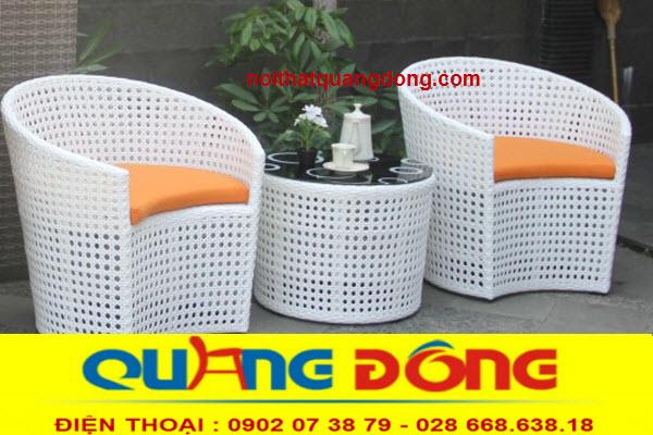 mẫu bàn ghế nhựa giả mây QD-344 cho không gian quán cafe hay khu resort ,khách sạn cao cấp,