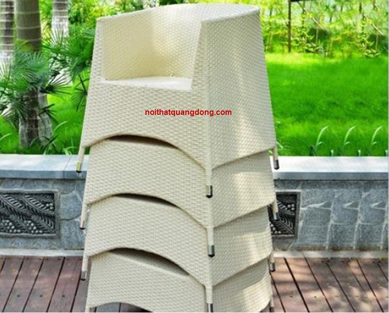 Ghế giả mây cho sân vườn ngoài trời quán cafe, tiện lợi có thể xếp chồng gọn gàng khi không sử dụng